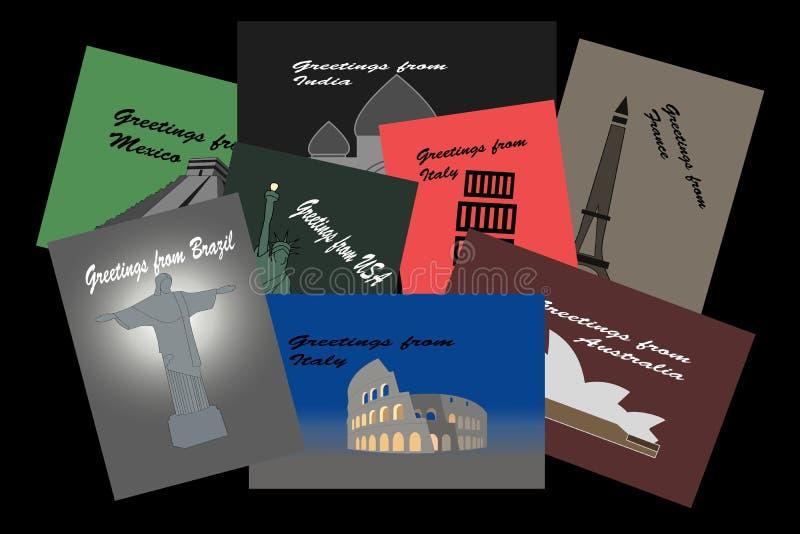 Todo el una ronda las postales del mundo libre illustration