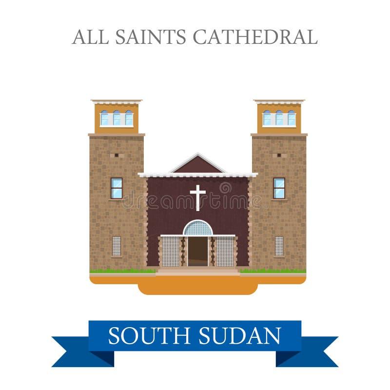 Todo el vector plano del sur de la vista de Sudán de la catedral de los santos stock de ilustración