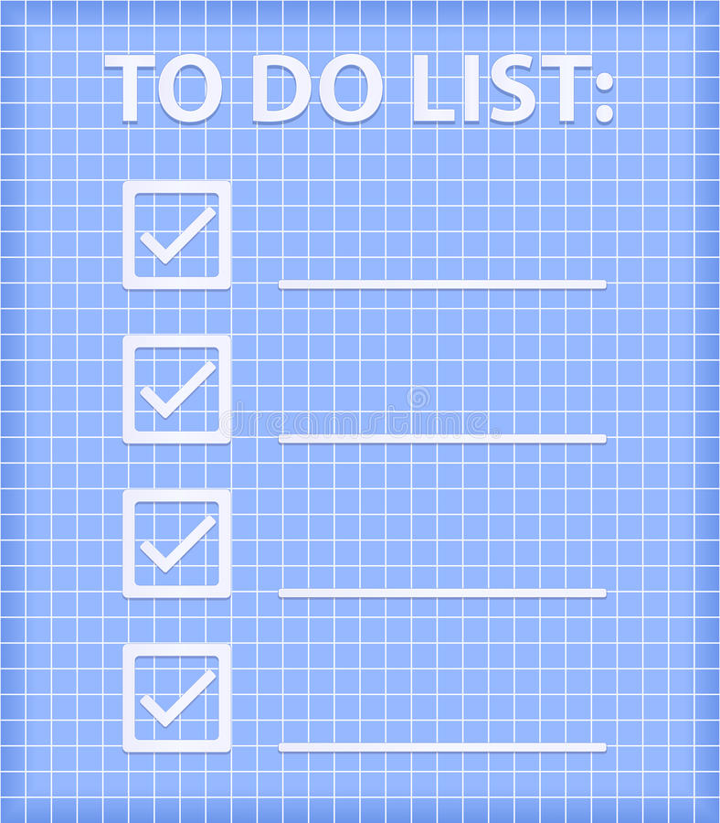 Download ToDo List On Blue Checked Sheet Stock Photo - Image: 23505160