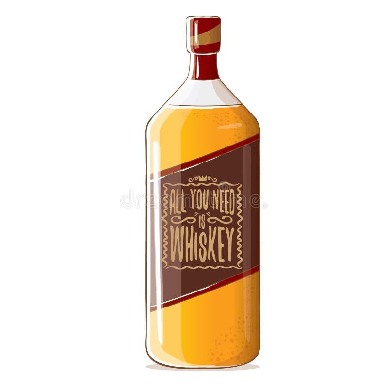Todo lo que usted necesita es ejemplo del concepto del vector del whisky vector la botella enrrollada del whisky o del borbón ais stock de ilustración