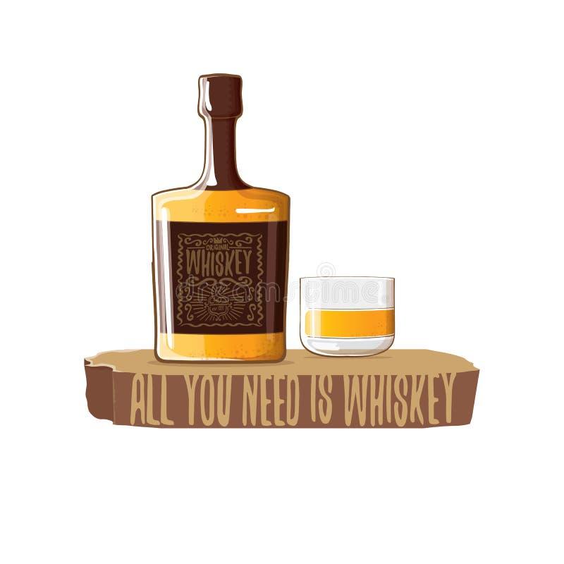 Todo lo que usted necesita es ejemplo del concepto del vector del whisky vector la botella enrrollada del whisky o del borbón con ilustración del vector