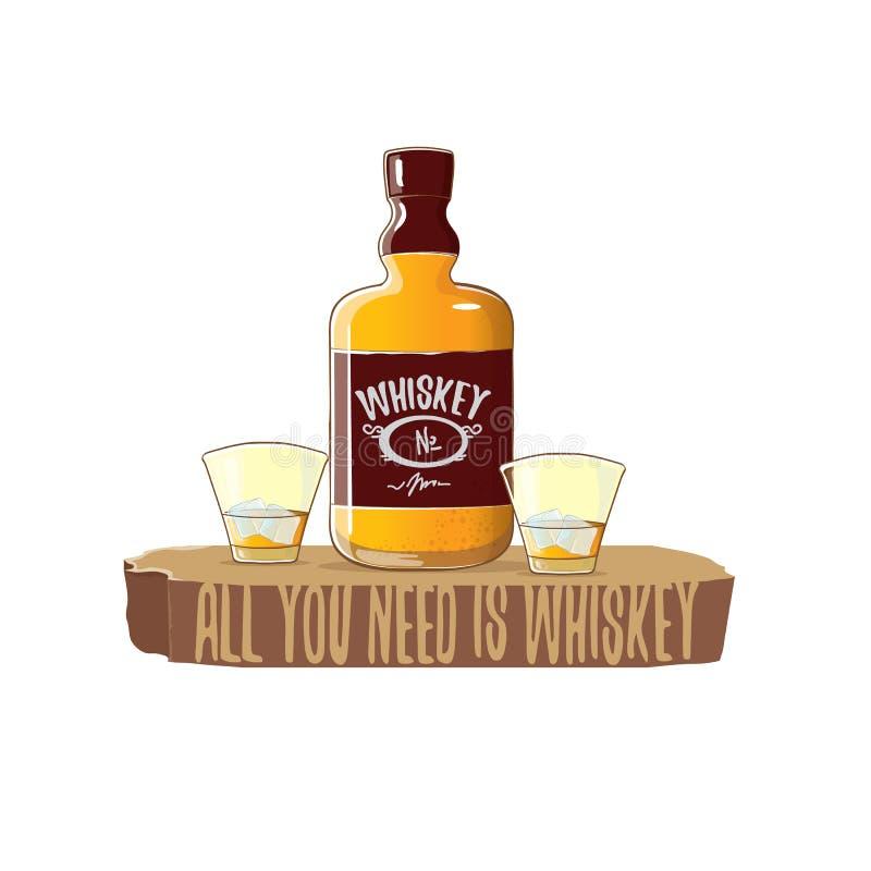 Todo lo que usted necesita es ejemplo del concepto del vector del whisky vector la botella enrrollada del whisky o del borbón con libre illustration