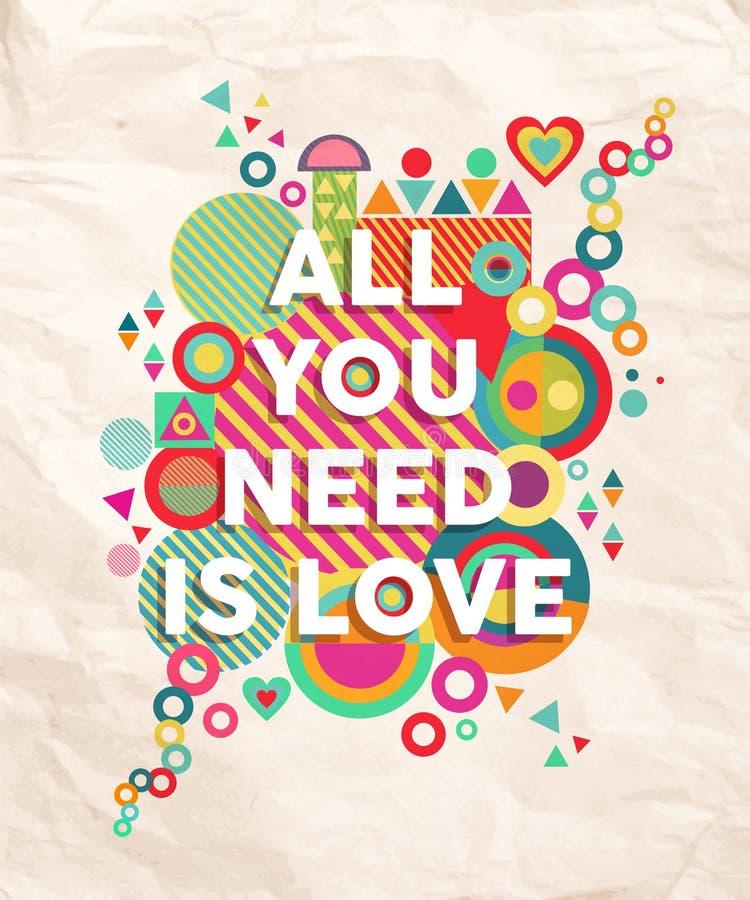 Todo lo que usted necesita es fondo del cartel de la cita del amor libre illustration