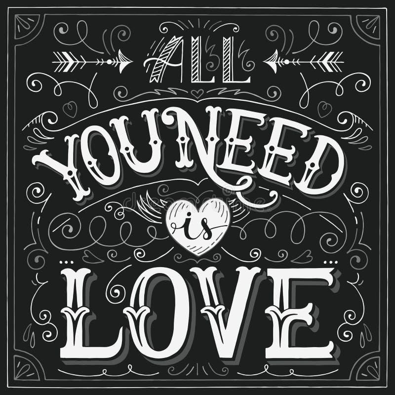 'Todo lo que usted necesita es las mano-letras del amor' para la impresión, tarjeta ilustración del vector