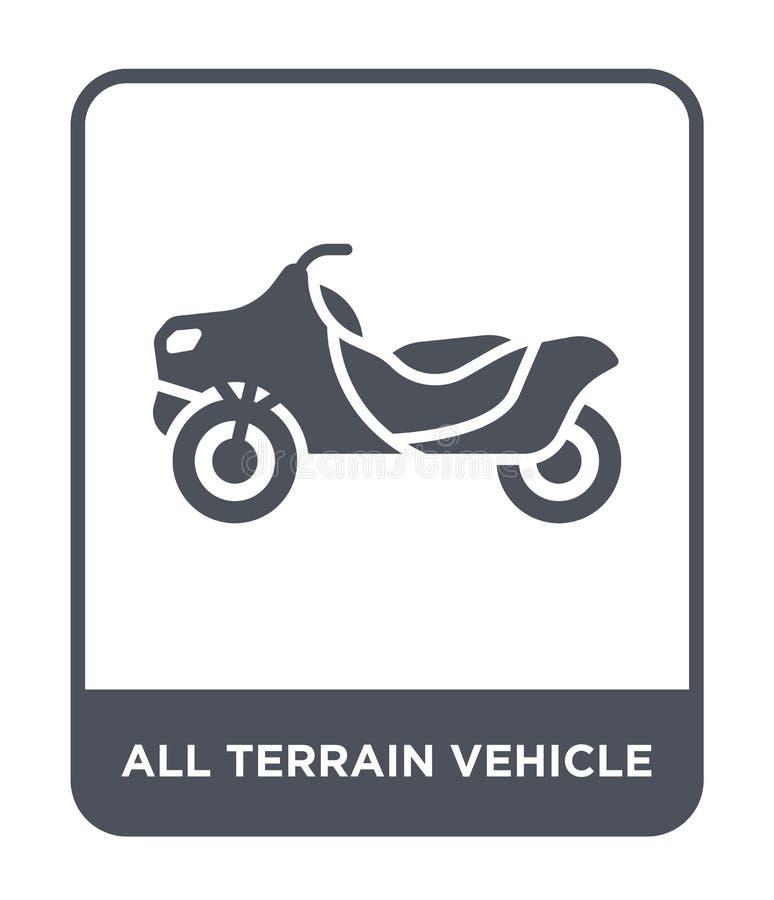 todo o ícone do veículo do terreno no estilo na moda do projeto todo o ícone do veículo do terreno isolado no fundo branco todo o ilustração stock