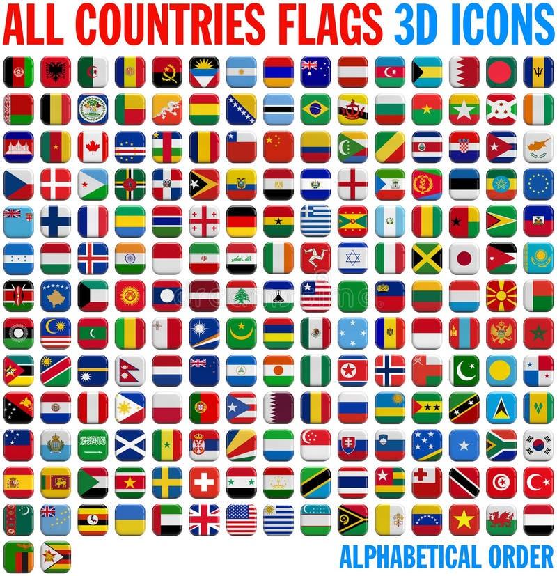 Todo o conjunto completo das bandeiras de país ilustração royalty free