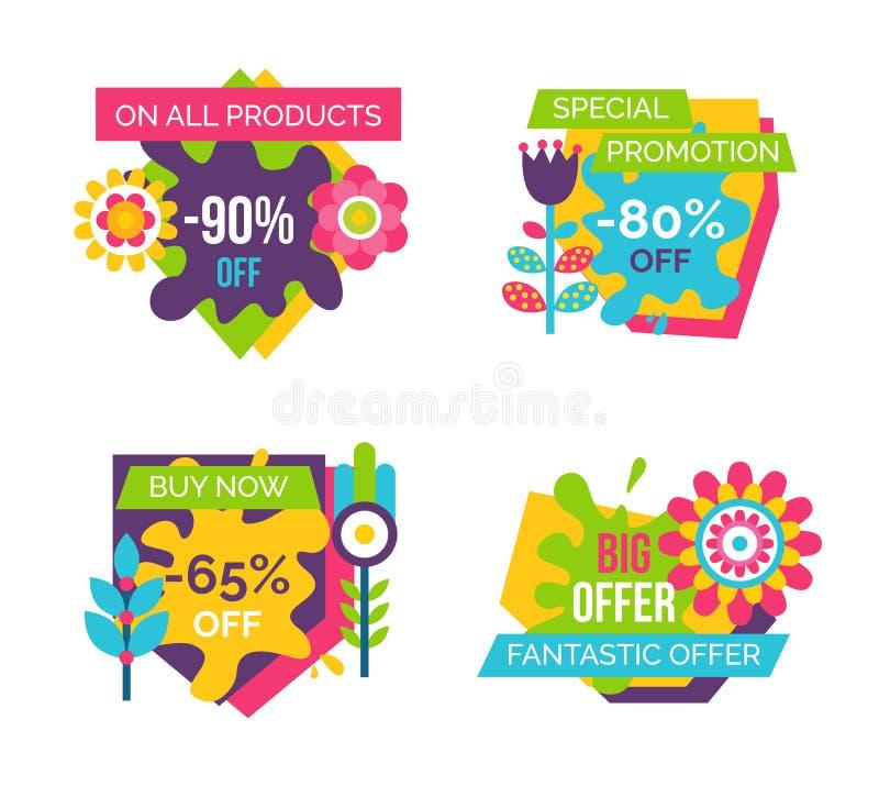 Todo o grupo de etiquetas final absoluto da venda do total dos produtos ilustração royalty free