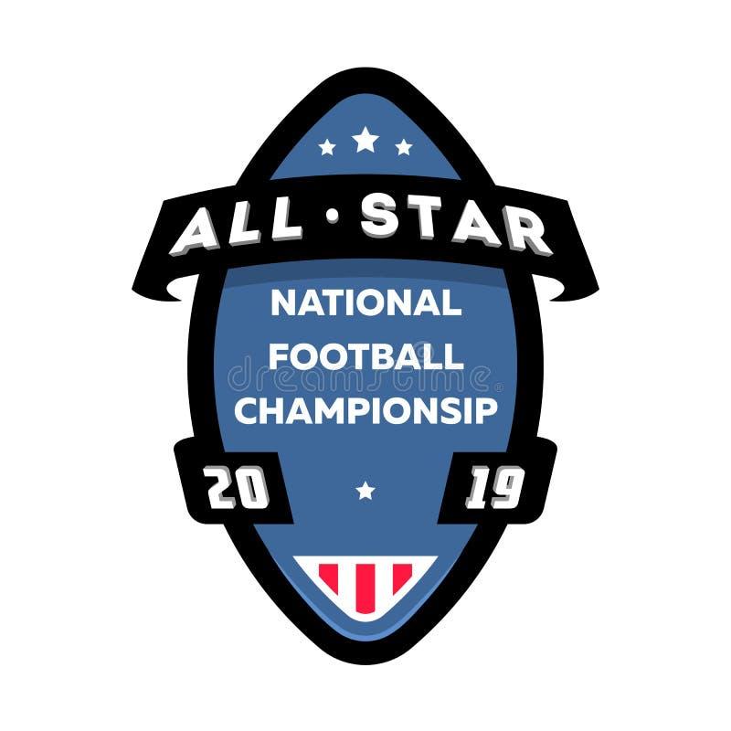 Todo o logotipo do futebol americano de estrela Ilustração do vetor ilustração royalty free