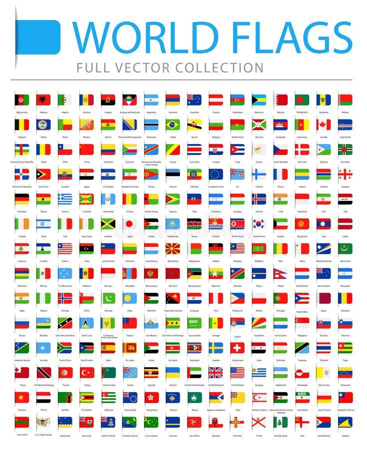 Todo o mundo embandeira - lista adicional nova de países e de territórios - ícones lisos do marcador do vetor ilustração stock