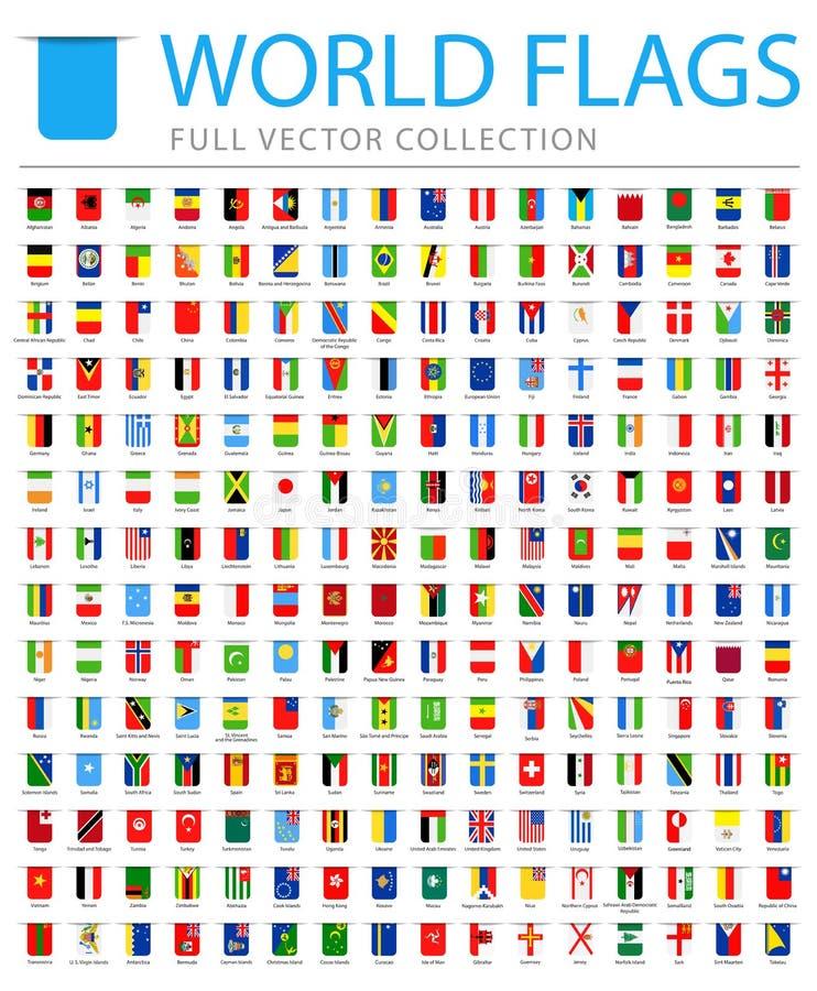Todo o mundo embandeira - lista adicional nova de países e de territórios - ícones lisos do marcador do vetor ilustração do vetor