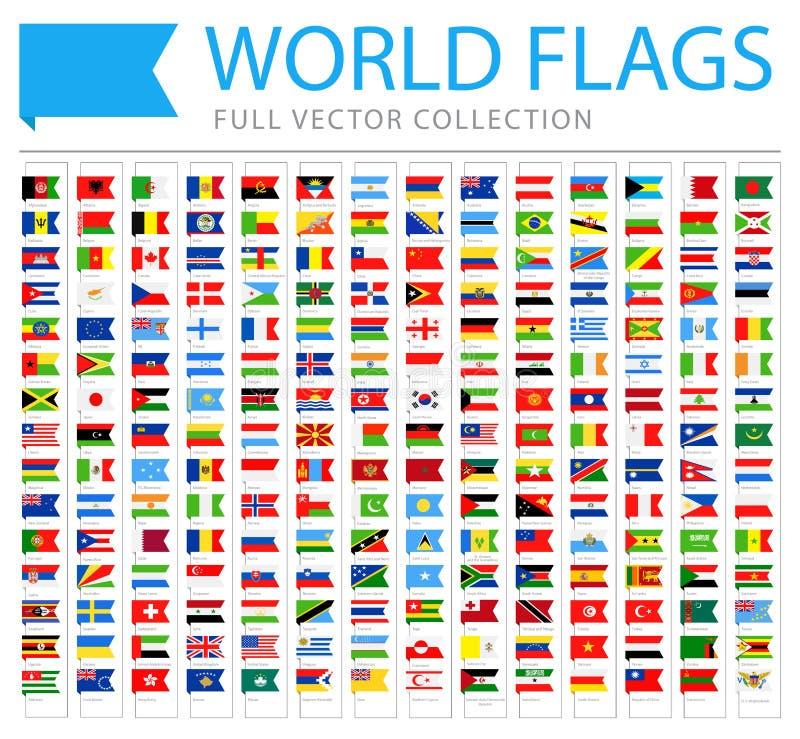 Todo o mundo embandeira - lista adicional nova de países e de territórios - ícones lisos do marcador do vetor ilustração royalty free
