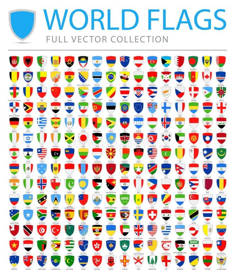 Todo o mundo embandeira - lista adicional nova de países e de territórios - ícones lisos do protetor do vetor ilustração stock