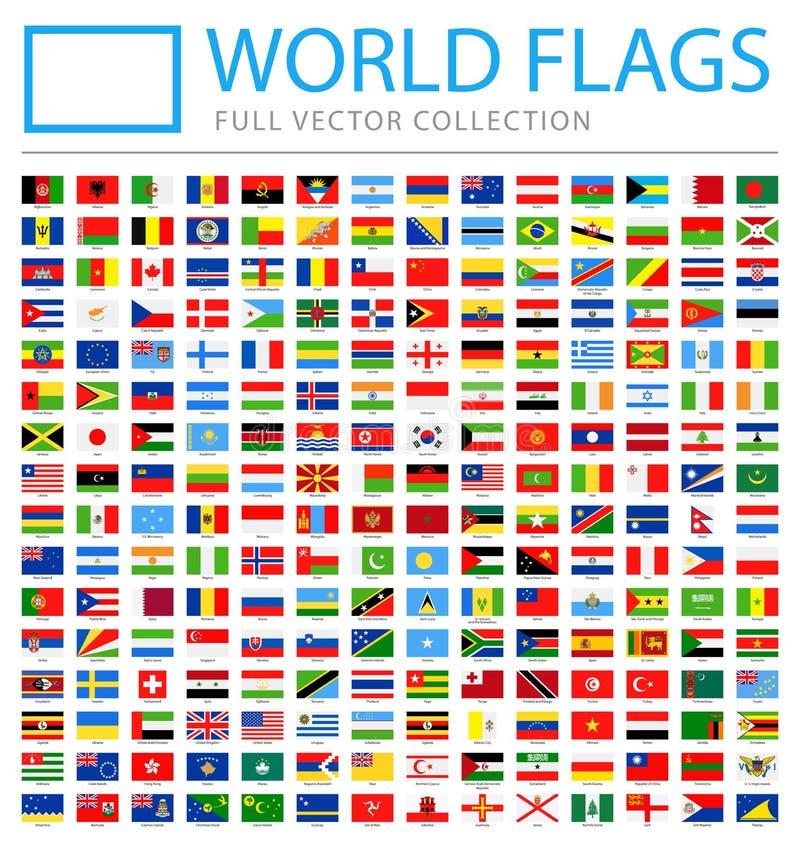 Todo o mundo embandeira - lista adicional nova de países e de territórios - ícones lisos do retângulo do vetor ilustração stock