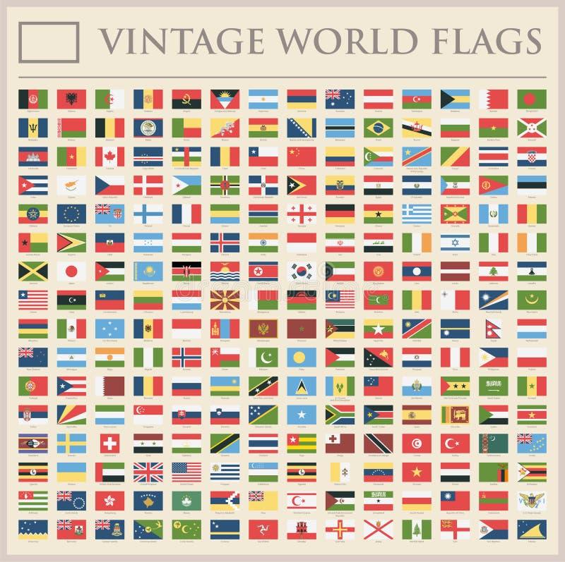 Todo o mundo embandeira - lista adicional nova de países e de territórios - ícones lisos do vintage do vetor ilustração do vetor