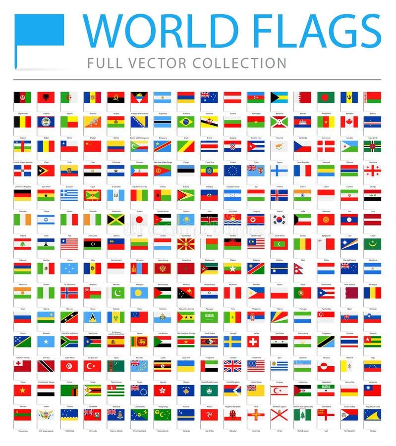 Todo o mundo embandeira - lista adicional nova de países e de territórios - o vetor Pin Flat Icons ilustração stock