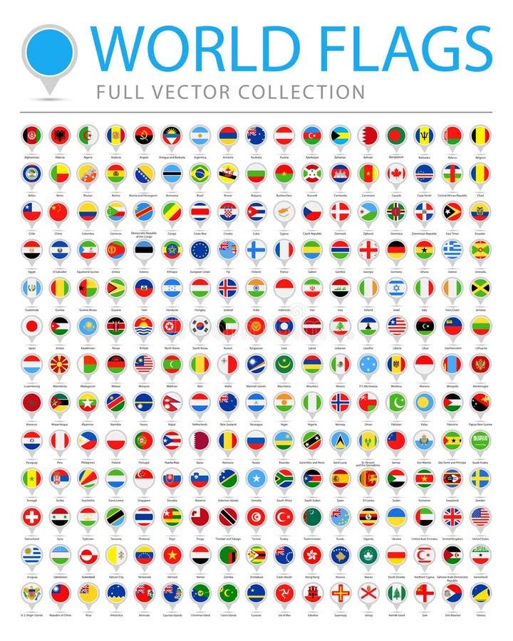 Todo o mundo embandeira - lista adicional nova de países e de territórios - o vetor Pin Flat Icons redondo ilustração royalty free