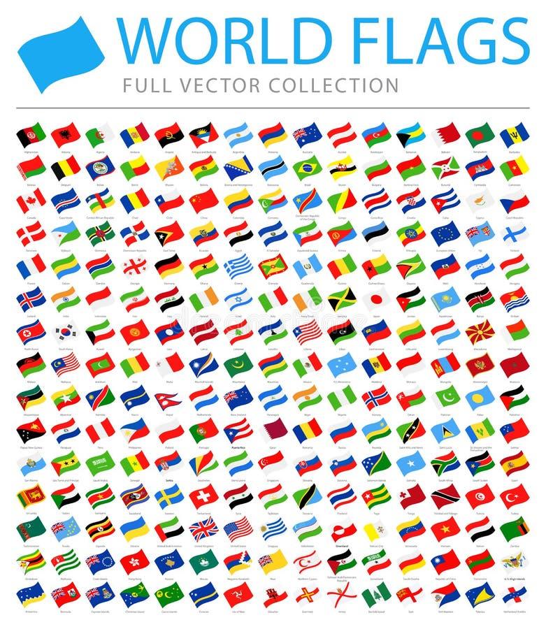 Todo o mundo embandeira - lista adicional nova de países e de territórios - o vetor que acena ícones lisos ilustração stock