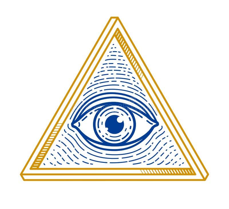 Todo o olho de vista do deus na geometria sagrado, o símbolo da alvenaria e do illuminati, o logotipo do vetor ou o elemento do p ilustração do vetor
