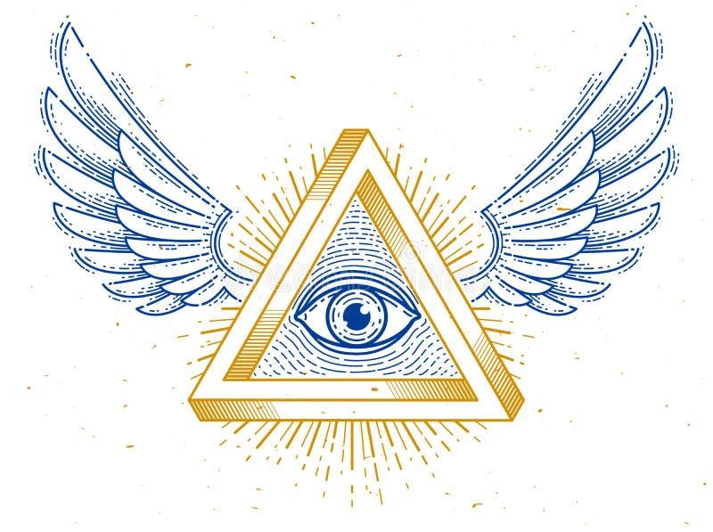 Todo o olho de vista do deus no tri?ngulo sagrado da geometria com as asas do p?ssaro do falc?o ou do s?mbolo do anjo, da alvenar ilustração do vetor