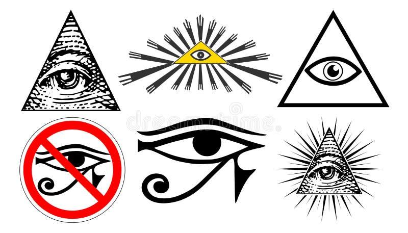 Todo o olho de vista do providência, ordem mundial novo do illuminati, ajustou o vetor ilustração stock