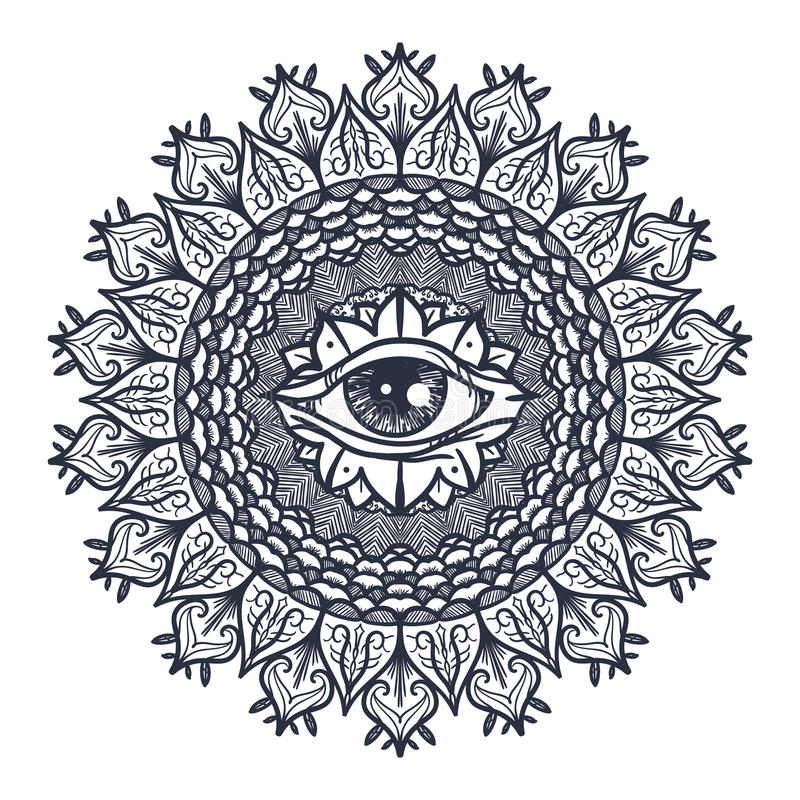 Todo o olho de vista na mandala ilustração stock