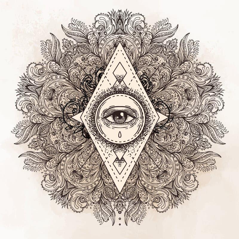 Todo o olho de vista no teste padrão redondo ornamentado da mandala Místico, a alquimia, ilustração stock
