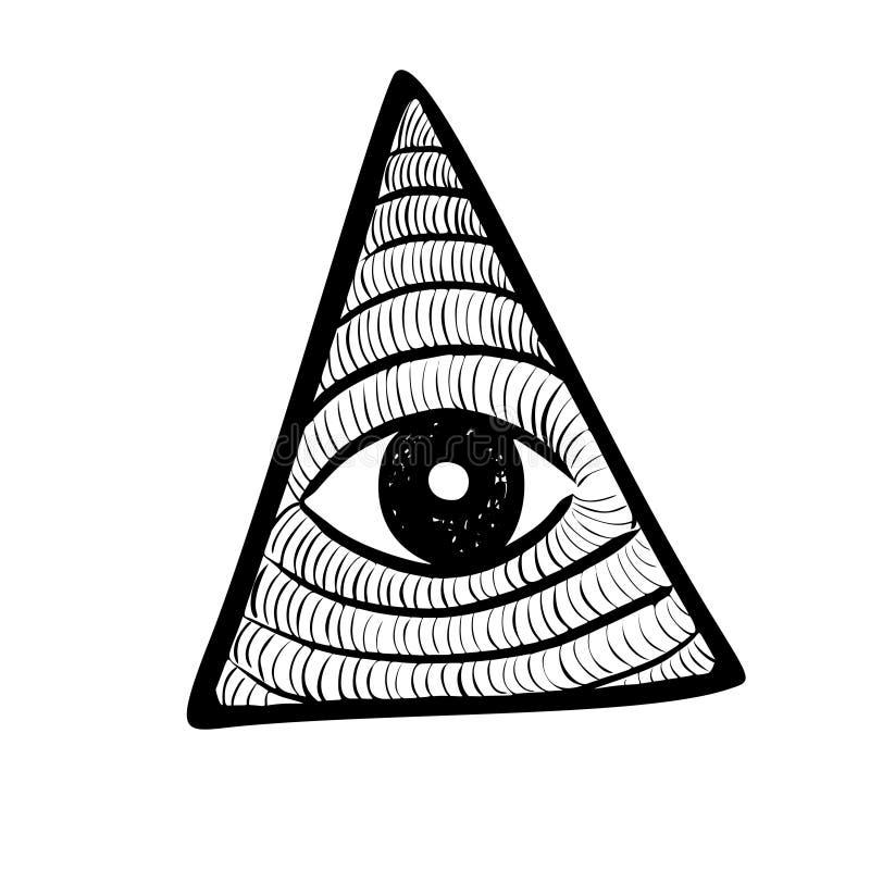 Todo o olho de vista no triângulo do delta Pirâmide e ícone da maçonaria, emblema novo do ordem mundial, ilustração do vetor ilustração stock