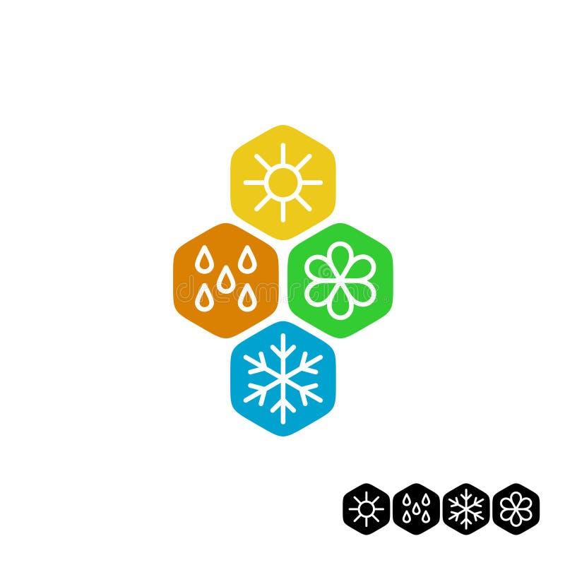 Todo o símbolo da estação Inverno, mola, verão e outono ilustração stock