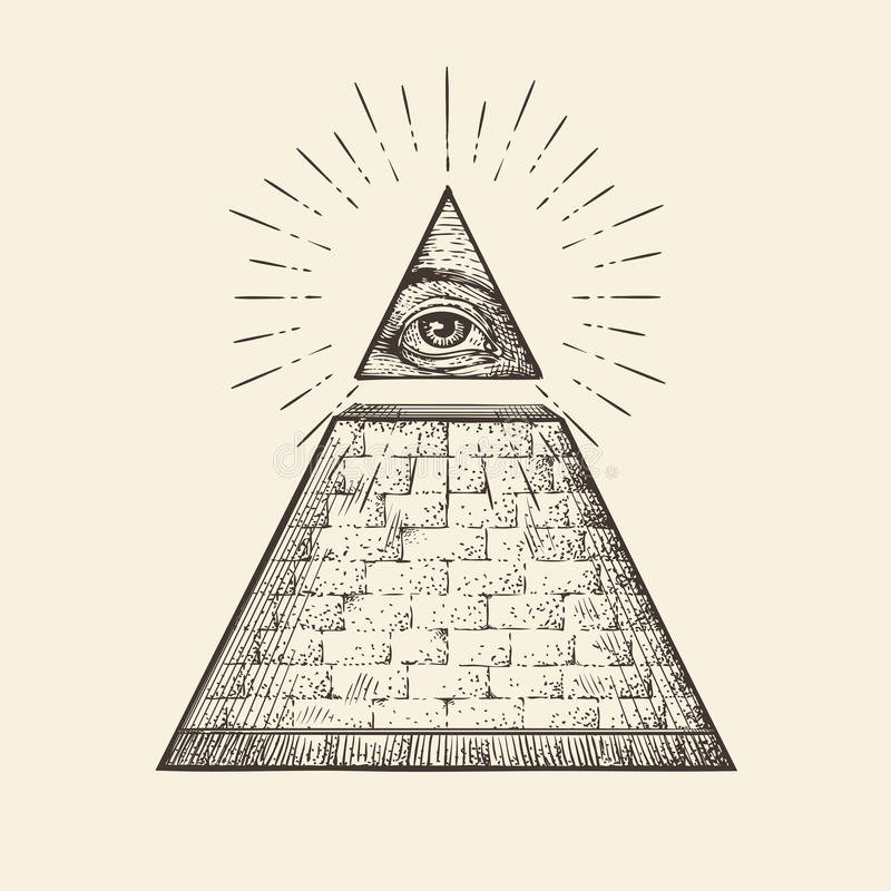 Todo o símbolo de vista da pirâmide do olho Ordem mundial novo Vetor tirado mão do esboço ilustração royalty free