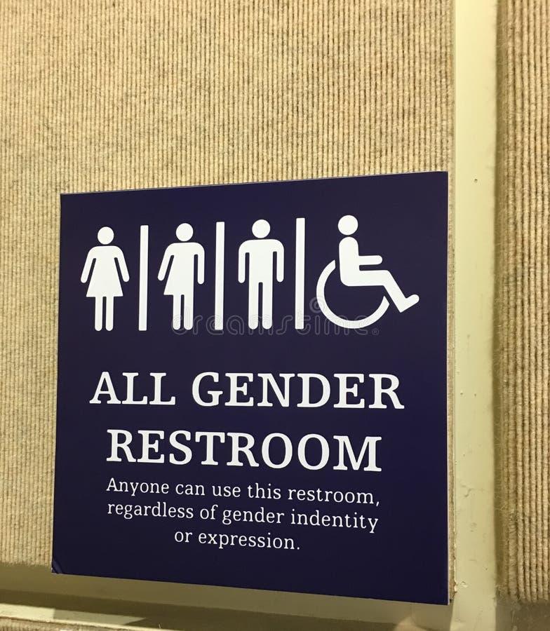 Todo o sinal do toalete do gênero foto de stock