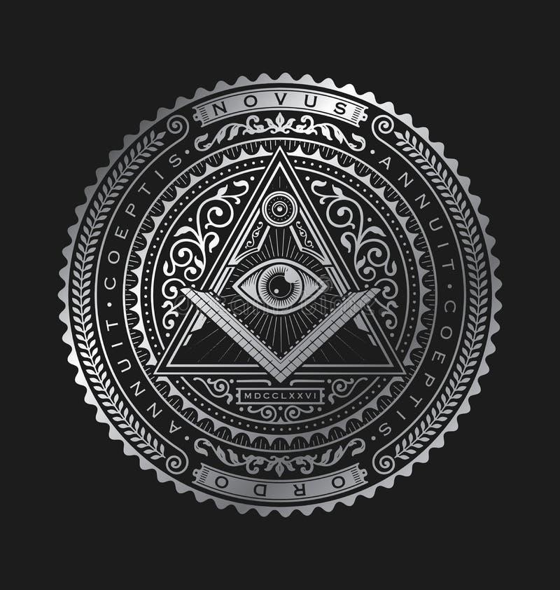 Todo o vetor de vista Logo Metallic do crachá do emblema do olho ilustração do vetor