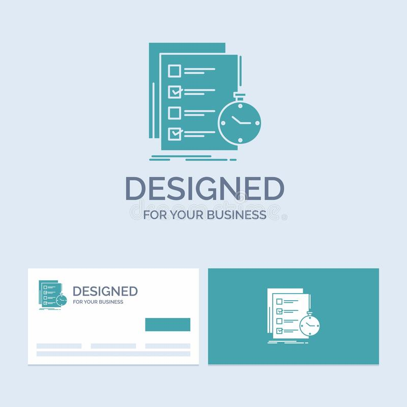 Todo, task, list, check, time Business Logo Glyph Icon Symbol for your business. Turquoise Business Cards with Brand logo template. Vector EPS10 Abstract royalty free illustration