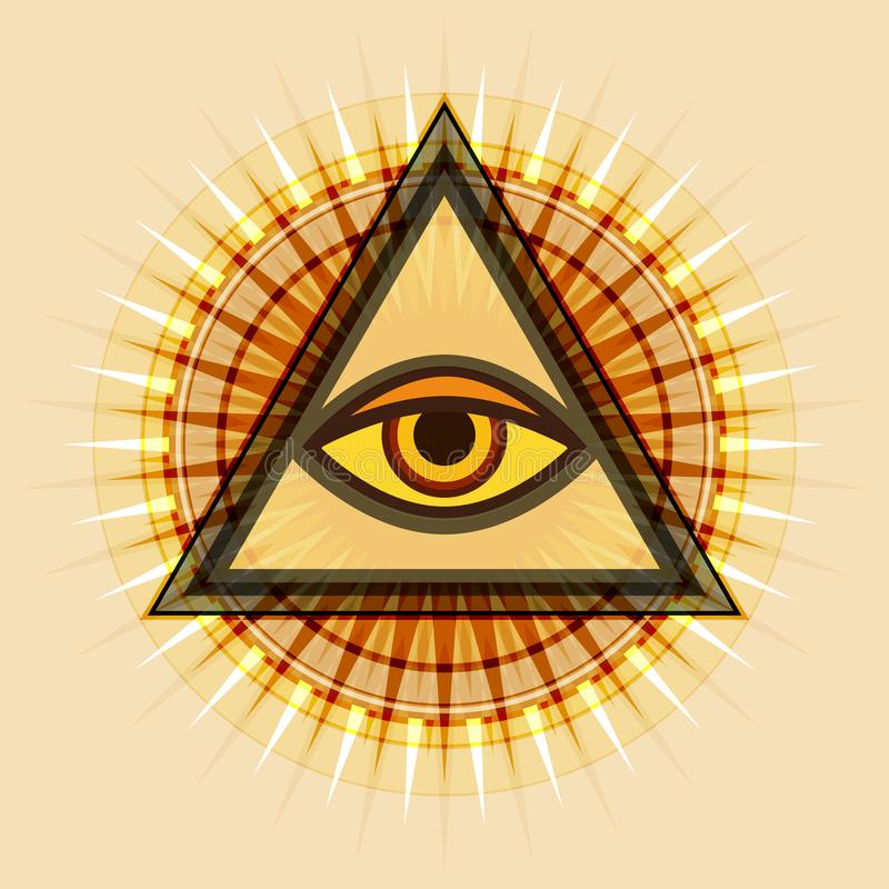 Todo-ver el ojo ( El ojo de Providence) stock de ilustración