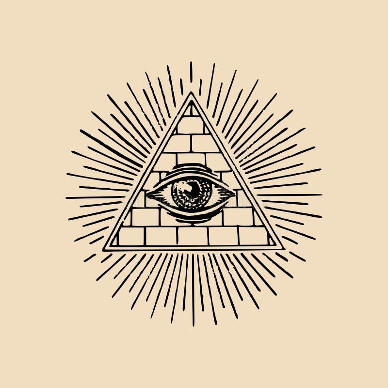 Todo-ver el ojo Ejemplo del vector de la pirámide de la francmasonería Grabado del logotipo masónico, emblema ilustración del vector