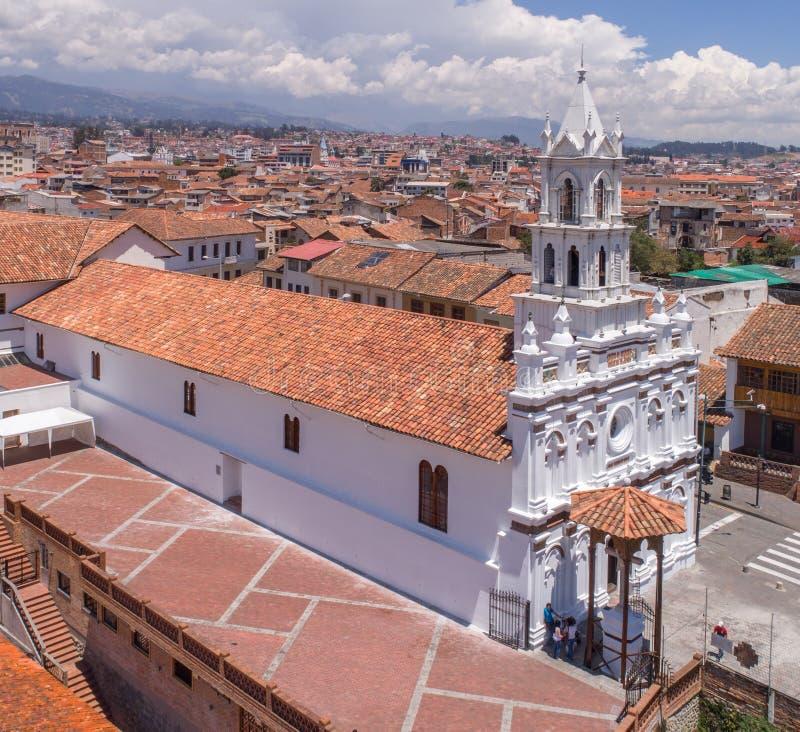 Todos桑托斯教会在昆卡省,厄瓜多尔 免版税库存照片