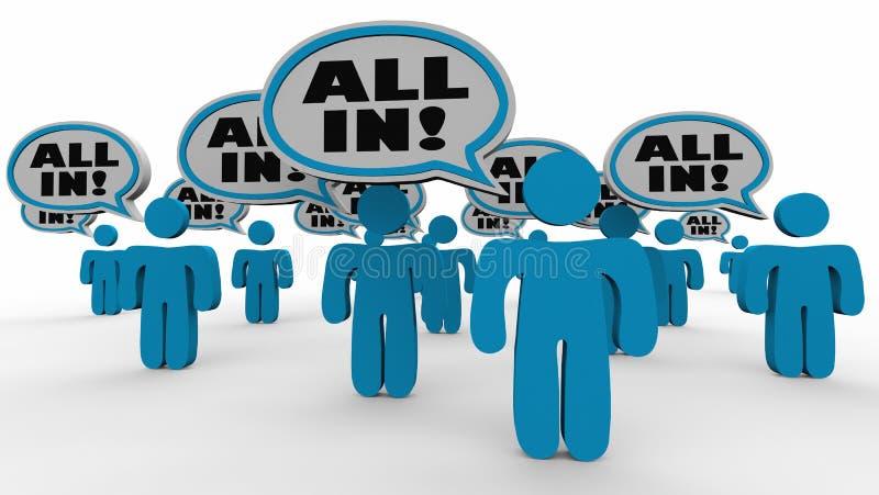 Todos en el acuerdo 3d Illustratio del compromiso de las burbujas del discurso de la gente libre illustration