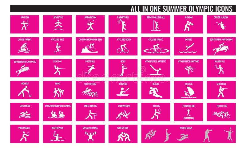 Todos en iconos olímpicos de un deporte del verano ilustración del vector