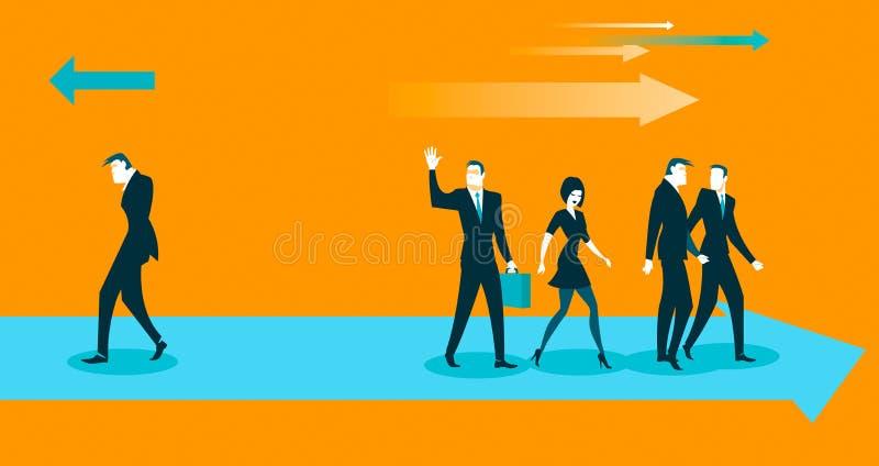 Todos entran en una dirección, y solamente una contra ilustración del vector