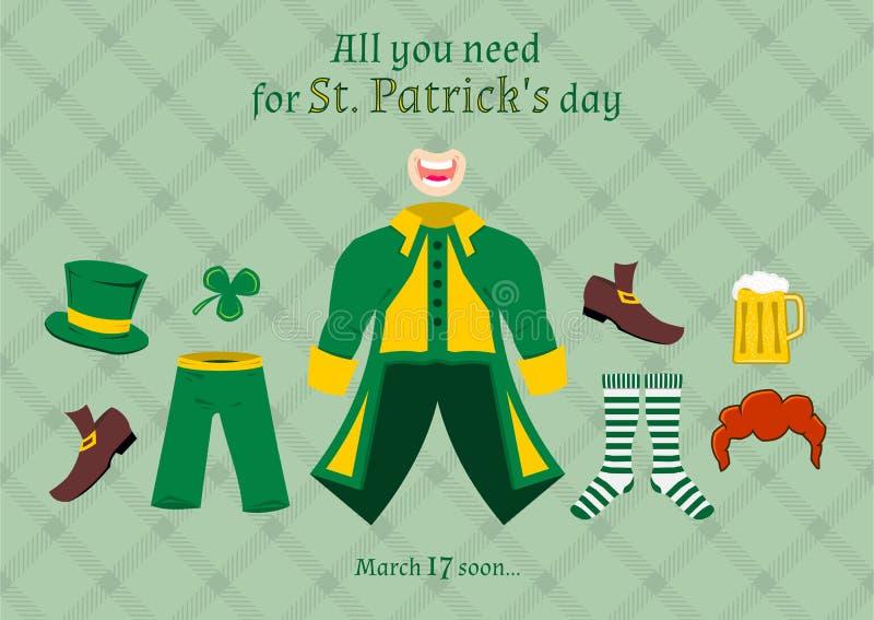 Todos lo que usted necesita para el día de St Patrick, ejemplo del vector ilustración del vector