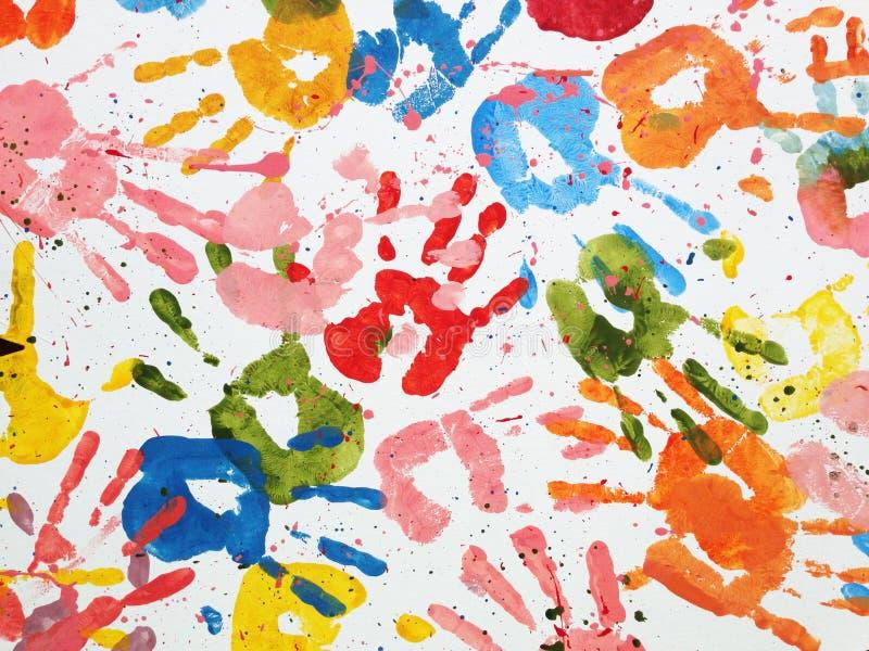 Todos los fondos del extracto del color de las manos imagen de archivo