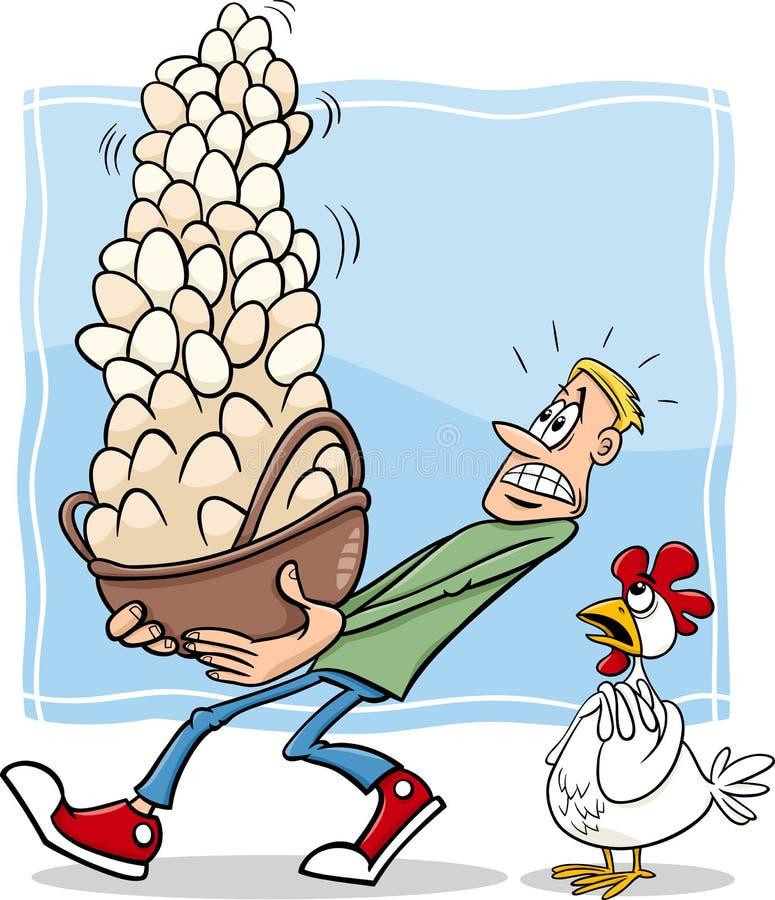 Todos los huevos en una historieta de la cesta stock de ilustración