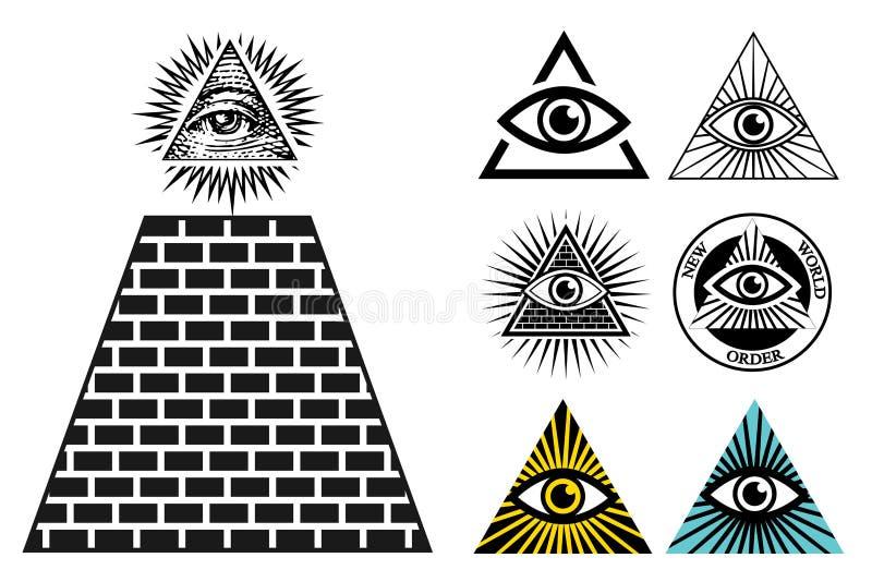 Todos los iconos del ojo que consideraban fijaron la pirámide Símbolo de Illuminati ilustración del vector