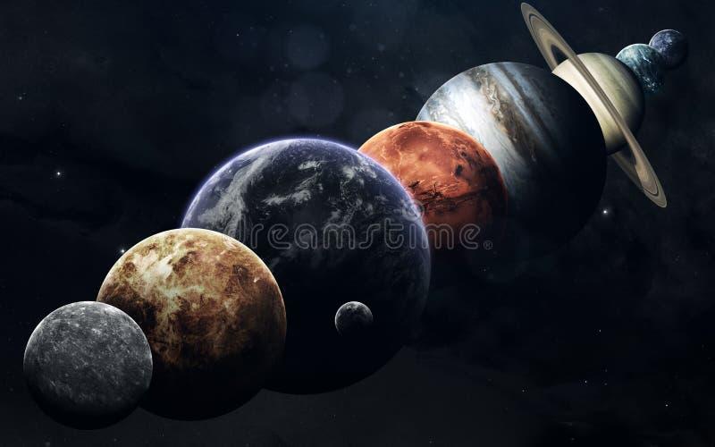 Todos los planetas de la Sistema Solar en el fondo del espacio Imagen educativa Elementos de esta imagen equipados por la NASA imagen de archivo