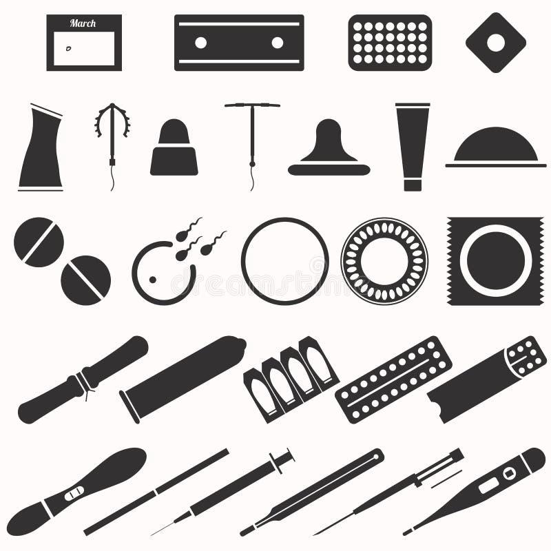 Todos los tipos y métodos modernos de la contracepción Iconos ilustración del vector