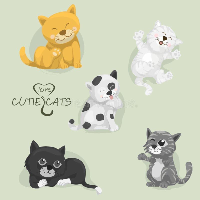 Todos os gatos do cutie dos desenhos animados, grupo de gatos dos desenhos animados, vetor ilustração stock
