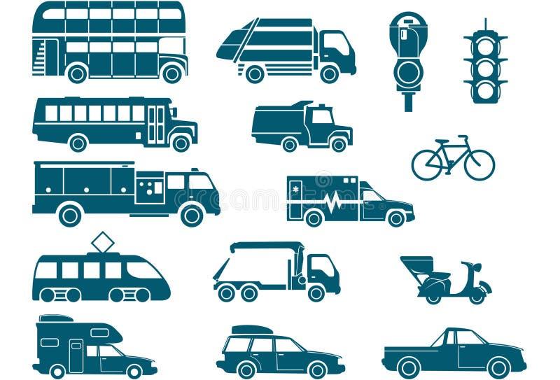 Todos os tipos de transporte da cidade ilustração do vetor