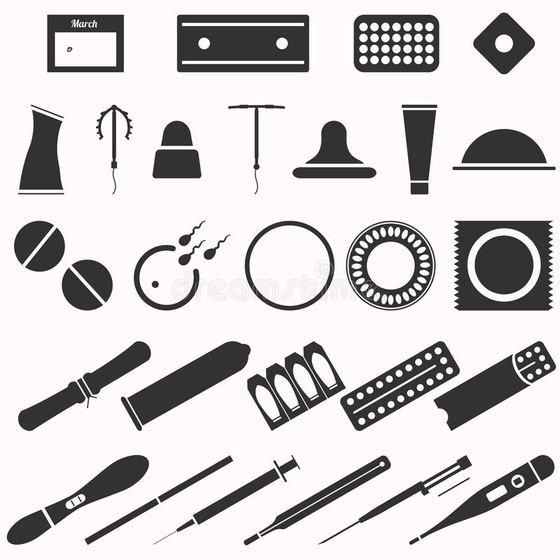Todos os tipos e métodos modernos da contracepção Ícones ilustração do vetor