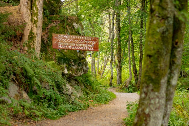 TODTNAU, DUITSLAND - JULI 20 2018: Forest Path Along en aan is royalty-vrije stock afbeelding