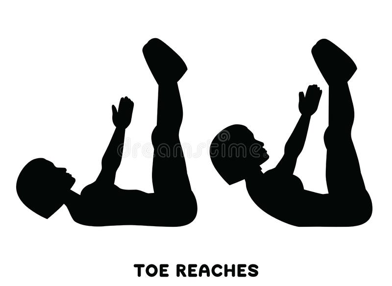 Toe reaches. Crunches. Double crunch. Sport exersice. Silhouettes of woman doing exercise. Workout, training vector illustration