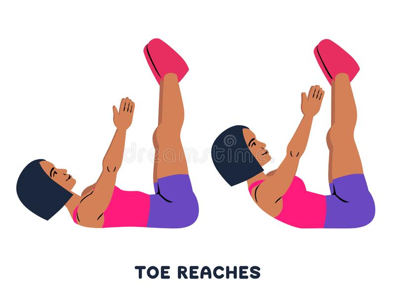 Toe reaches. Crunches. Double crunch. Sport exersice. Silhouettes of woman doing exercise. Workout, training stock illustration